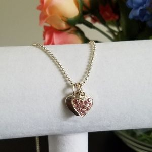 Jewelry - Silver Heart Necklace with Pink Gems